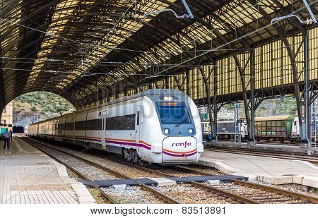 High-speed train at Portbou station