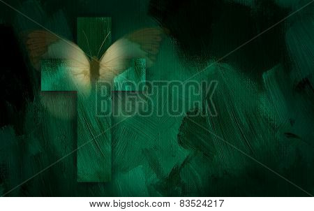Abstract Christian cross and butterfly