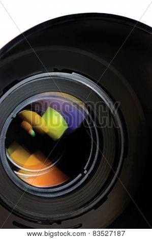Lens And Hood, Isolated, Large Detailed Macro Zoom Closeup, Vertical