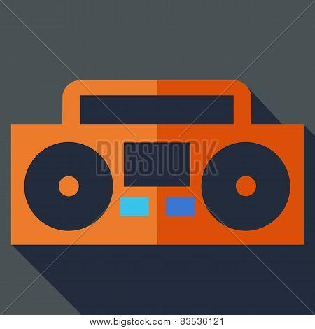 Modern flat design concept icon. Boom box, tape recorder. Vector