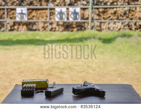 Outdoor Gun Shooting Of Target Range