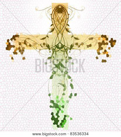 Green Floral Cross