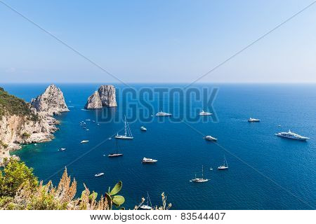 View Of Faraglioni Cliffs And The Tyrrhenian Sea