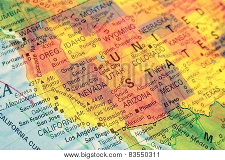 Map North West Usa. Close-up Image