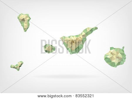 Low Poly map of Canary Islands
