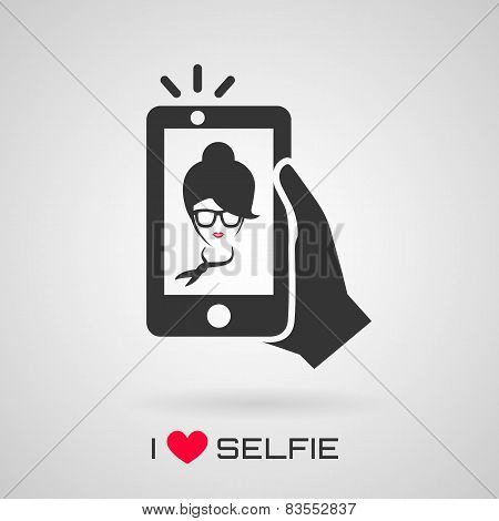 Selfie Icon With Trendy Woman. Vector Symbol.