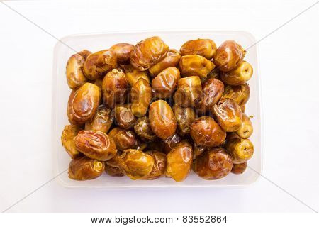 closeup view of Arabian date fruits arranged in a pack ready to be gifted