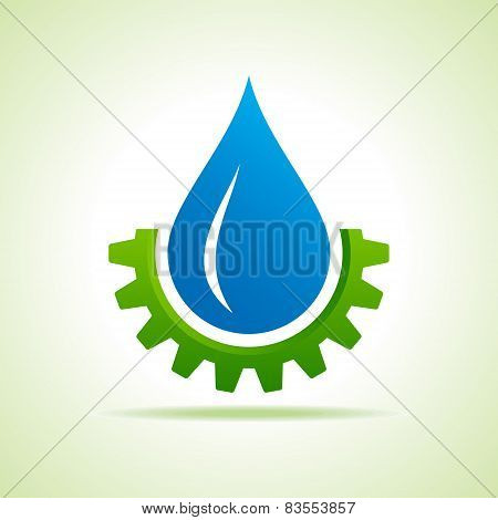 Oil industry drop symbol with gear symbol stock vector