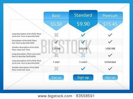 Light pricing table with 3 options and one recommended poster