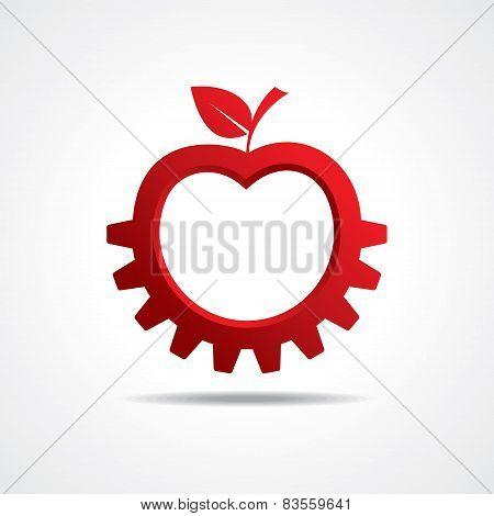 Red apple make gear shape, business technology symbol stock vector