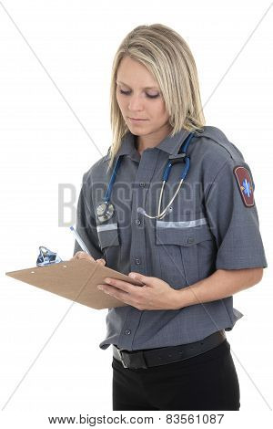 Paramedic employee in the front of a white background poster