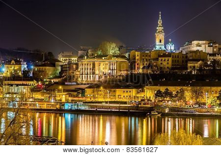 View of the city center of Belgrade at night - Serbia poster