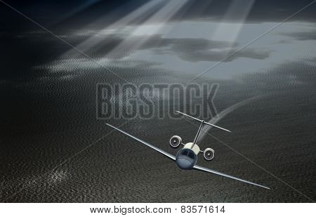 Plane taking off in the sky over the sea