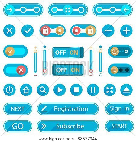Blue Buttons And Switches In A Minimalist Style