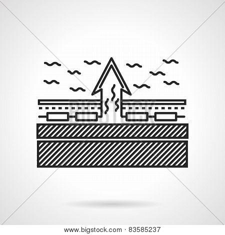 Underfloor heating scheme flat line vector icon