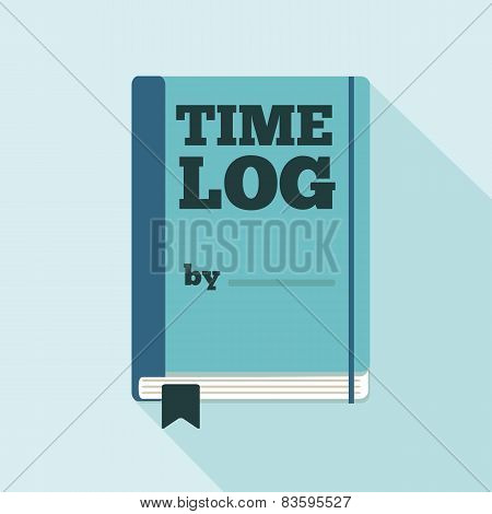 Flat Style Icon with Long Shadow. A time log.