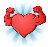 A sexy red heart cartoon character posing like a body builder and flexing his bulging muscles poster