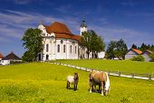 landmark and UNESCO heritage church named Wieskirche in Bavaria poster