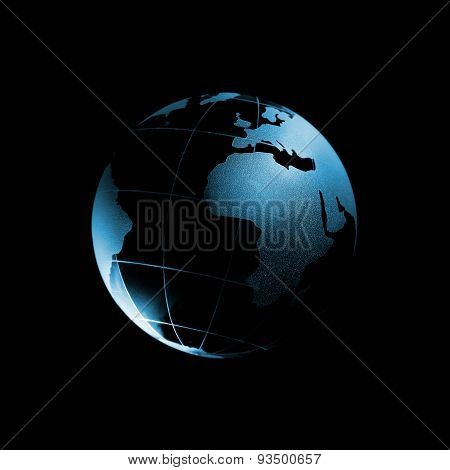 Glass Globe Isolated On Black Background