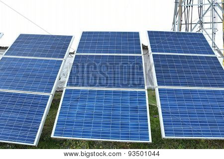 Closed Up The Solar Cell On The Mountain In Nepal