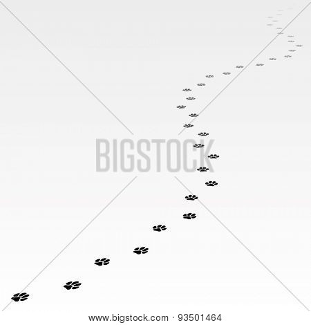 Trace of dog leading far away. Editable Vector EPS8.