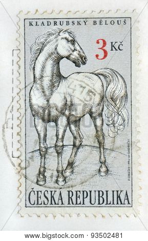 CZECH REPUBLIC - CIRCA 1996:  stamp printed in Czech Republic showing white horse, created  breed in Kladruby stud farm, Czech Republic ; Prague circa 1996