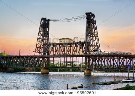 Steel Bridge At Dusk