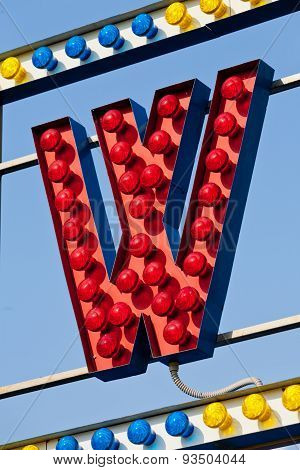 W Letter Circus Neon Sign