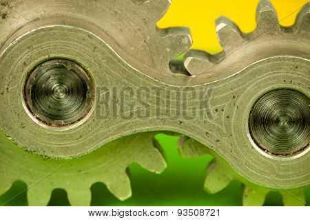 Detached metal brass shiny cogwheel machinery mechanical element