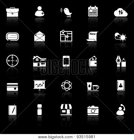 Mobile Icons With Reflect On Black Background