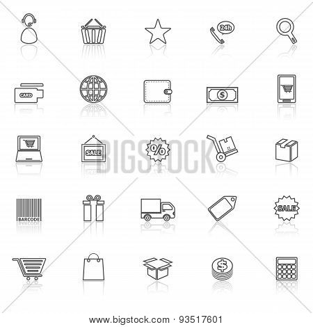 E-commerce Line Icons With Reflect On White