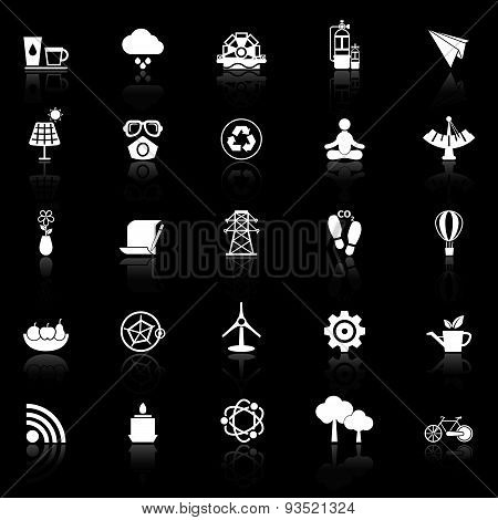 Clean Concept Icons With Reflect On Black Background