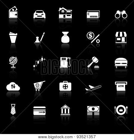 E Wallet Icons With Reflect On Black Background