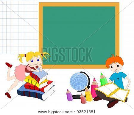 Children Caucasians With Books At The School Board, Comeback To School