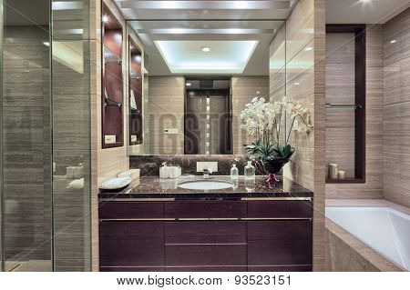Luxury hotel bathroom interior and upscale furniture with modern style decoration