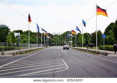 The Road With Flags Next To Bundestag (reichstag) In Berlin