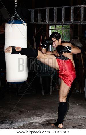Fighter Training In Garage.