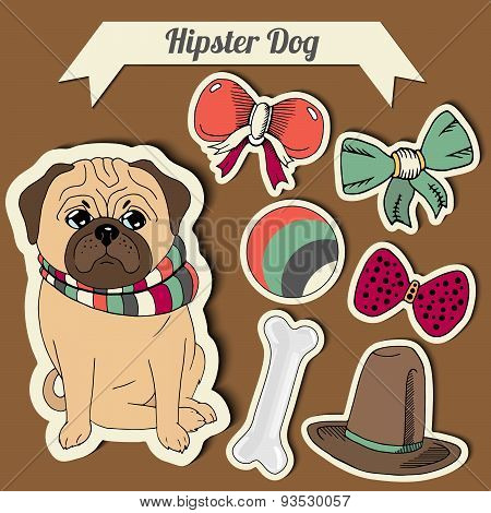 Vector Hipster Pug Dog With A Dog With A Set Of Toys: Ball, Bows, Bone , Hat. Hand Drawn Colorful St