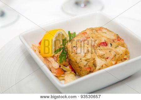 Crab Cake And Lemon Wedge
