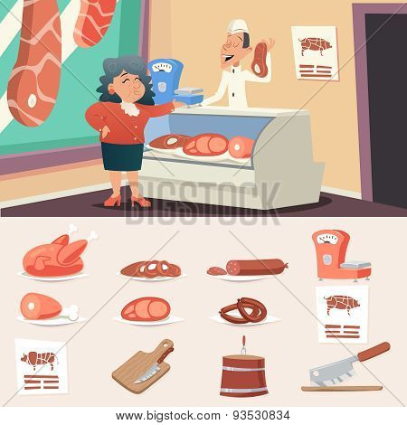 Meat Butcher Shop Granny Old Woman Seller Retro Vintage Cartoon Character Icon on Stylish Background