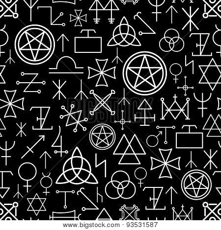 Mystical seamless pattern on black background. White line, spirituality and pentagram, occultism philosophy. Vector illustration poster