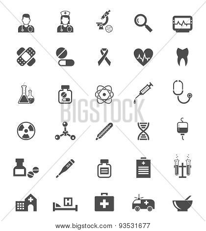 Medical icons on white. Tablets  medicines, pills and drugs