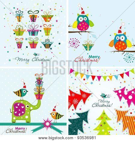 Christmas greeting with an elephant, owl, Christmas gift, Christmas tree