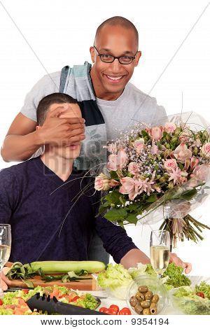 Mixed Ethnicity  Gay Couple Kitchen