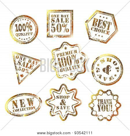 set of shop & save stamp Gold