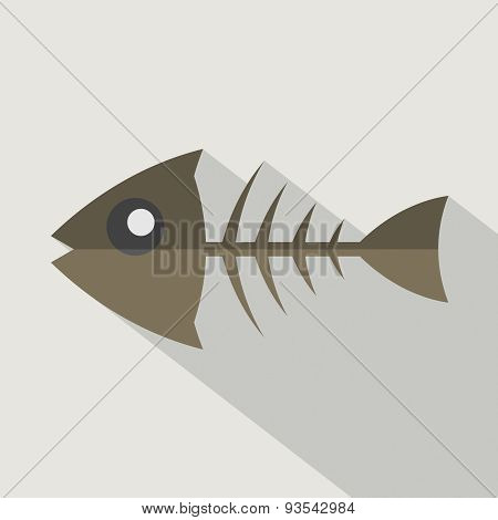 Modern Flat Design Fishbone Icon.