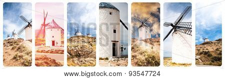 collage with windmills of Consuegra Toledo  Spain