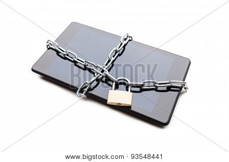 Personal data security and protection concept - metal chain link with locked padlock on smartphone or digital tablet computer white isolated