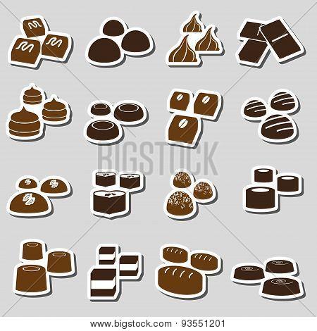 Sweet Chocolate Truffles Styles Stickers Set Eps10