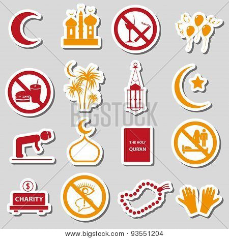 Ramadan Islam Holiday Color Stickers Set Eps10